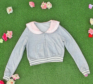 White/Grey/Pink Sailor Collar Embroidery Knitted Sweater Cardigan Coat SP153444 - SpreePicky  - 12
