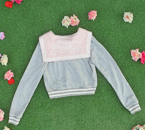 White/Grey/Pink Sailor Collar Embroidery Knitted Sweater Cardigan Coat SP153444 - SpreePicky  - 13