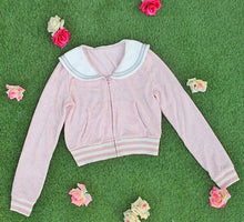Load image into Gallery viewer, White/Grey/Pink Sailor Collar Embroidery Knitted Sweater Cardigan Coat SP153444 - SpreePicky  - 18