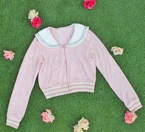 White/Grey/Pink Sailor Collar Embroidery Knitted Sweater Cardigan Coat SP153444 - SpreePicky  - 18