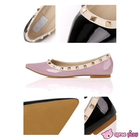 6 Colors Rivet Woman PU Flats Shoes Pointed Shoes SP151927 - SpreePicky  - 3
