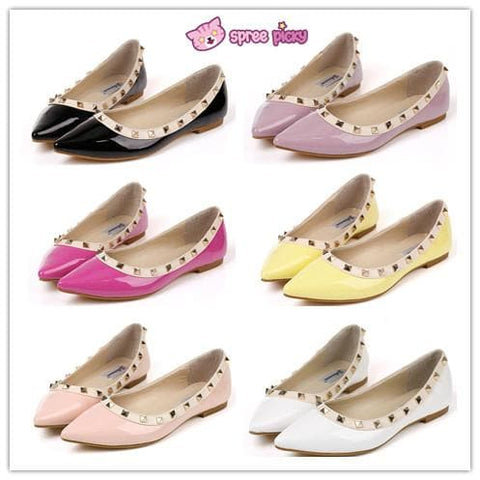 6 Colors Rivet Woman PU Flats Shoes Pointed Shoes SP151927 - SpreePicky  - 1