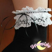 Load image into Gallery viewer, [Black/White]Cosplay Lolita Lace with Ribbon Over Knees Stockings SP141532 - SpreePicky  - 9