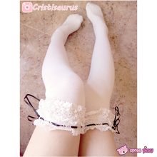 Load image into Gallery viewer, [Black/White]Cosplay Lolita Lace with Ribbon Over Knees Stockings SP141532 - SpreePicky  - 3