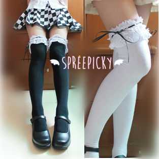 [Black/White]Cosplay Lolita Lace with Ribbon Over Knees Stockings SP141532