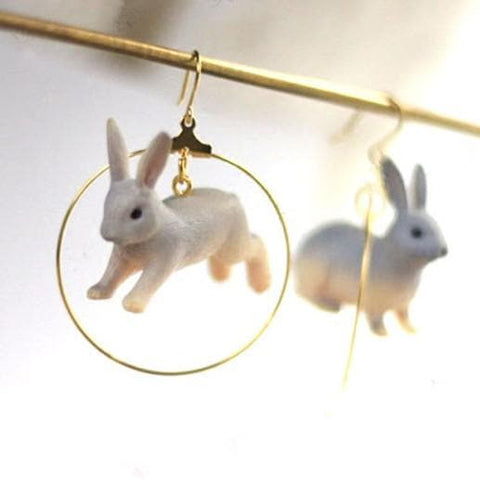Golden/Slivery Kawaii Running Bunny Earrings SP1812140