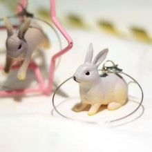 Load image into Gallery viewer, Golden/Slivery Kawaii Running Bunny Earrings SP1812140