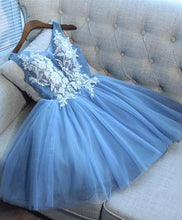 Load image into Gallery viewer, Cute Blue V Neck Tulle Lace Short Prom Dress, Cocktail Dress - Harajuku Kawaii Fashion Anime Clothes Fashion Store - SpreePicky