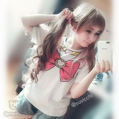 [S-3XL] Sailor Chibi Moon Pink Bow Tee SP140963