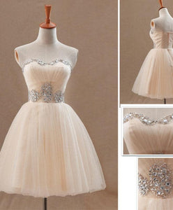 Champagne A Line Tulle Short Prom Dress, Homecoming Dress - DelaFur Wholesale