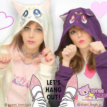 Load image into Gallery viewer, Sailor Moon Luna Artemis Fleece Hoodie Jacket Coat SP141188