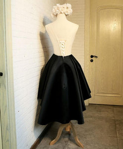 Cute Black Lace High Low Prom Dress, Homecoming Dress - DelaFur Wholesale