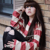 6 Colors Oversized Cute Striped Shirt SP179001
