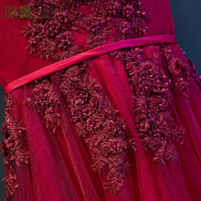 Load image into Gallery viewer, Burgundy V Neck Lace Tulle Long Prom Dress, Lace Evening Dress - DelaFur Wholesale
