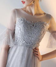 Load image into Gallery viewer, Gray Tulle Lace Prom Dress, Gray Evening Dress - DelaFur Wholesale