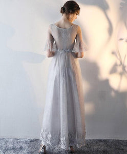Gray Tulle Lace Prom Dress, Gray Evening Dress - DelaFur Wholesale