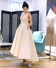 Load image into Gallery viewer, Champagne V Neck Short Prom Dress, Homecoming Dress - DelaFur Wholesale