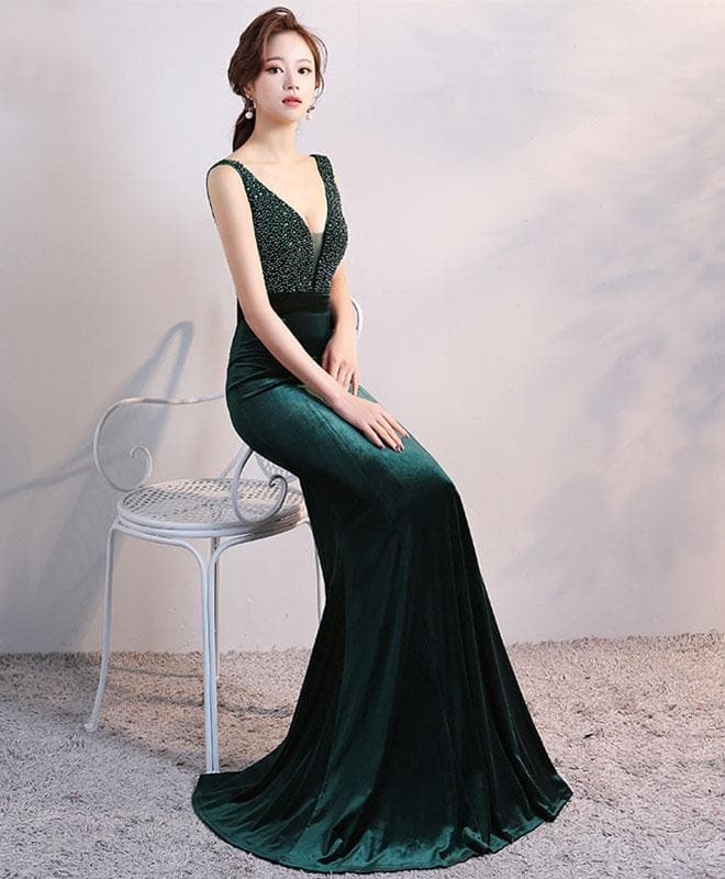 Green V Neck Velvet Long Prom Dress, Mermaid Evening Dress - DelaFur Wholesale