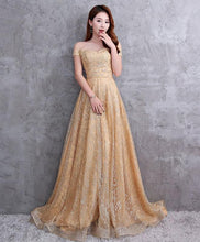 Load image into Gallery viewer, Champagne Tulle Sequins Long Prom Dress - Harajuku Kawaii Fashion Anime Clothes Fashion Store - SpreePicky