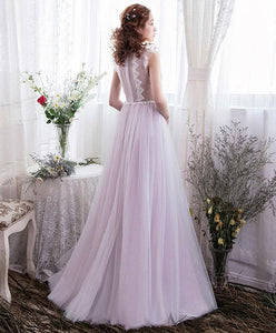 Cute Tulle Lace Long Prom Dress, Evening Dress - DelaFur Wholesale