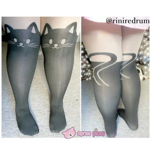Bigger Size Fake Over Knee Thigh High Kitty Silk Tights SP141286 - SpreePicky