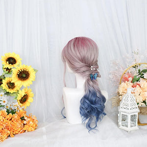 Lolita Pink Blue Gradient Long Curly Wig SP15518