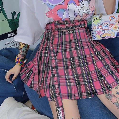 Gothic Cool Girl Heart Plaid Skirt SP15786
