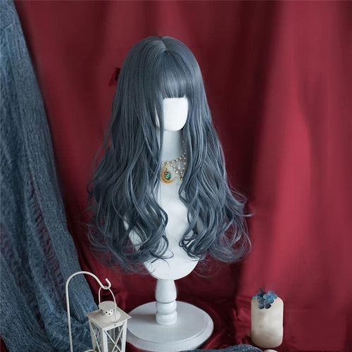 Lolita Fog Blue Long Curly Wig SS0936