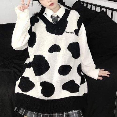 Playful Cute Cow Pattern Sweater Vest SS0912