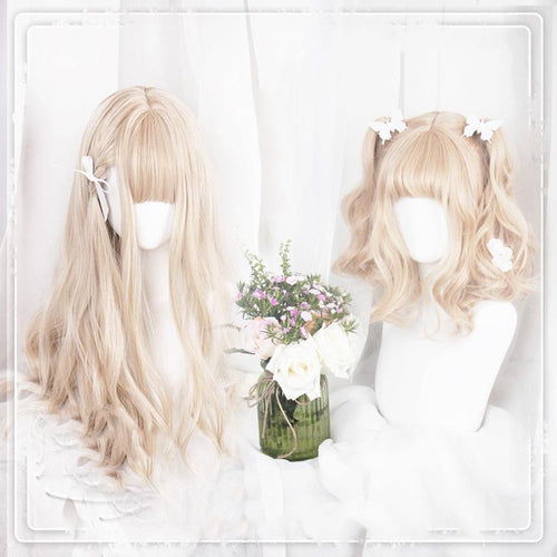 Cute Lolita Brown White Gradient Long/ Short Wig SP15494