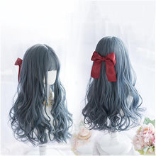 Load image into Gallery viewer, Lolita Fog Blue Long Curly Wig SS0936