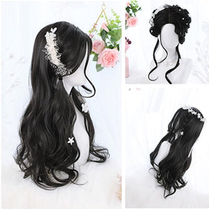 Lolita Black Mid Length Curly Wig SS0689