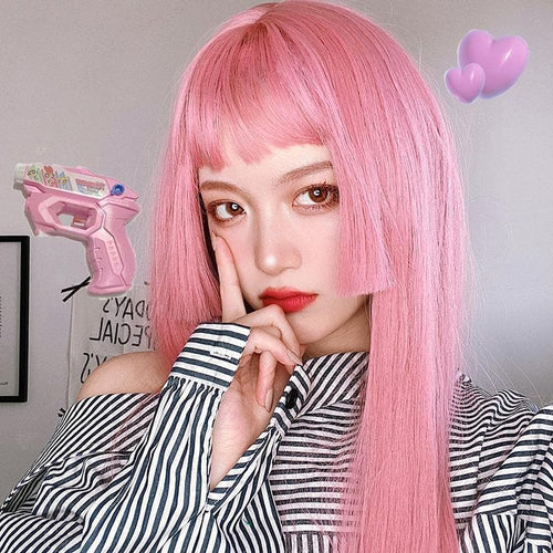 Pink Lolita Princess Cut Long Staight Wig SS1050