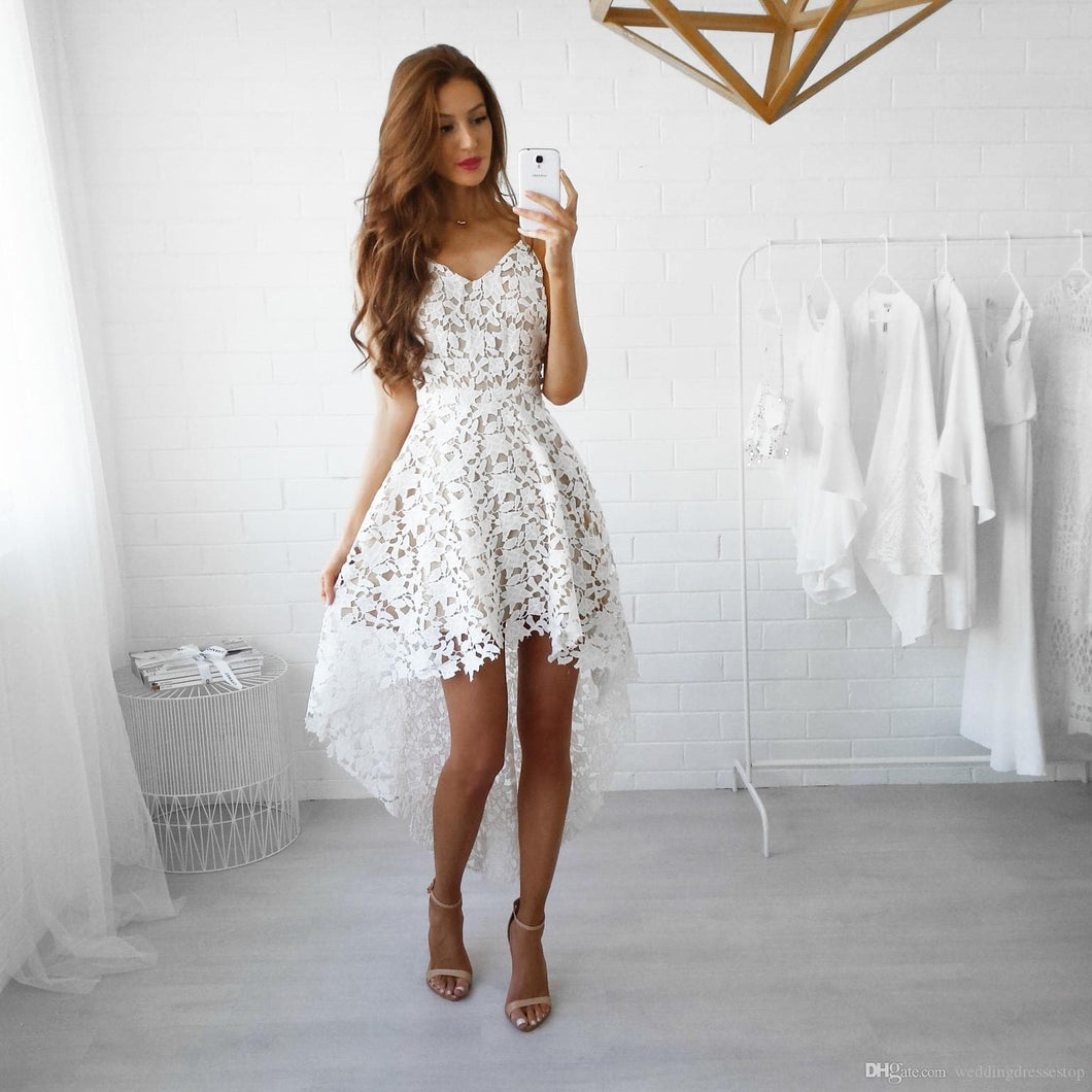 Stylish White Lace High Low Prom Dress, Fashion Girl Dress - DelaFur Wholesale