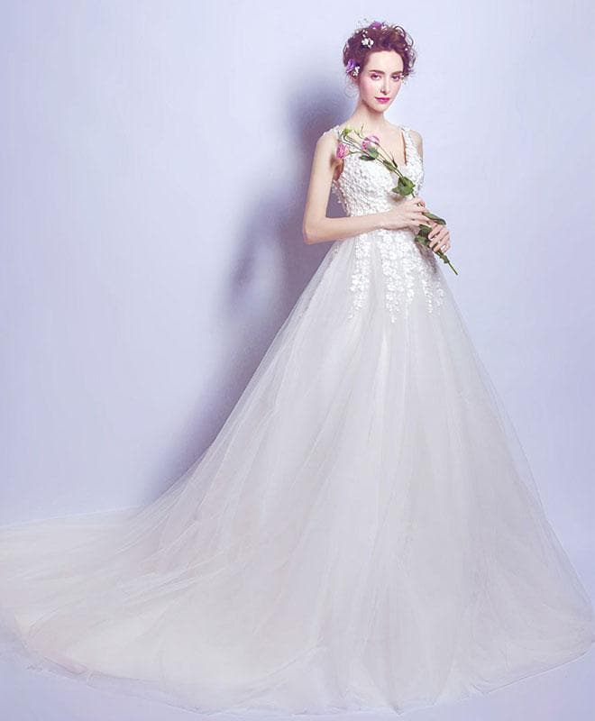 White V Neck Tulle Long Prom Dress, White Evening Dress - DelaFur Wholesale
