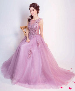Stylish Round Neck Tulle Long Prom Dress, Lace Evening Dress - DelaFur Wholesale