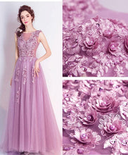 Load image into Gallery viewer, Stylish Round Neck Tulle Long Prom Dress, Lace Evening Dress - DelaFur Wholesale