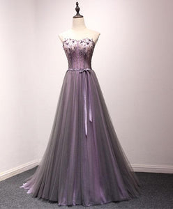 Pruple Tulle Sweetheart Neck Long Prom Dress, Evening Dress - DelaFur Wholesale
