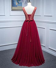 Load image into Gallery viewer, Burgundy V Neck Tulle Lace Long Prom Dress, Burgundy Evening Dress - DelaFur Wholesale
