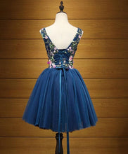 Load image into Gallery viewer, Blue V Neck Tulle Short Prom Dress, Homecoming Dress - DelaFur Wholesale