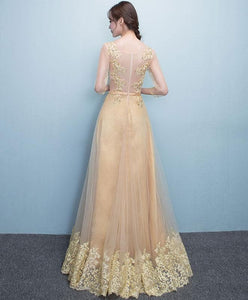 Glod Lace Tulle Long Prom Dress, Lace Evening Dress - DelaFur Wholesale