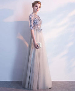 Gray Long Sleeve Lace Long Prom Dress, Lace Evening Dress - DelaFur Wholesale