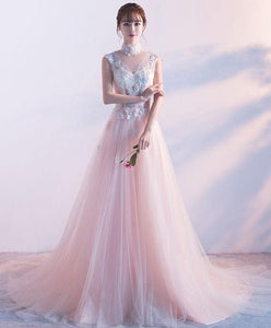 Pink High Neck Lace Long Prom Dress, Pink Evening Dress - DelaFur Wholesale