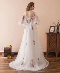 White V Neck Tulle Lace Long Prom Dress, White Evening Dress - DelaFur Wholesale