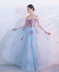 Light Blue V Neck Tulle Lace Long Prom Dress, Evening Dress - DelaFur Wholesale