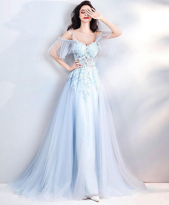 Light Blue Lace Tulle Long Prom Dress, Evening Dress - DelaFur Wholesale