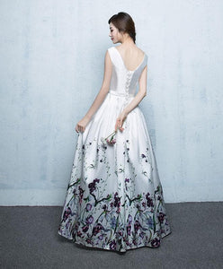White Floral Pattern Long Prom Dress, White Evening Dress - DelaFur Wholesale