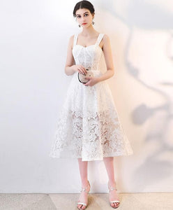 White Lace Short Prom Dress, Homecoming Dress - DelaFur Wholesale
