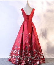 Load image into Gallery viewer, Burgundy Floral Pattern Long Prom Dress, Burgundy Evening Dress - SpreePicky FreeShipping