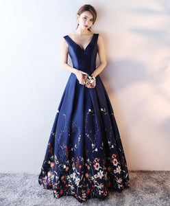 Dark Blue Floral Pattern Long Prom Dress, Blue Evening Dress - DelaFur Wholesale